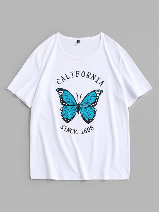 California Schmetterlingsdrucken Kurzarm-T-Shirt - Weiß XL