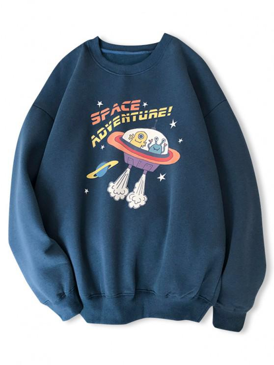 Cartoon UFO Print Graphic Sweatshirt - منتصف الليل الأزرق L