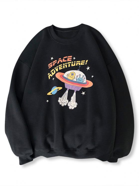 latest Cartoon UFO Print Graphic Sweatshirt - BLACK L