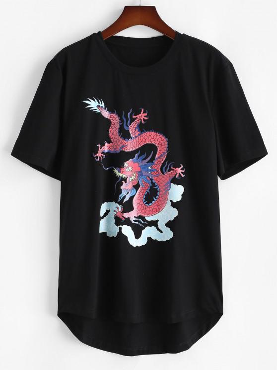 T-Shirt a Maniche Corte con Stampa Drago - Nero 2XL