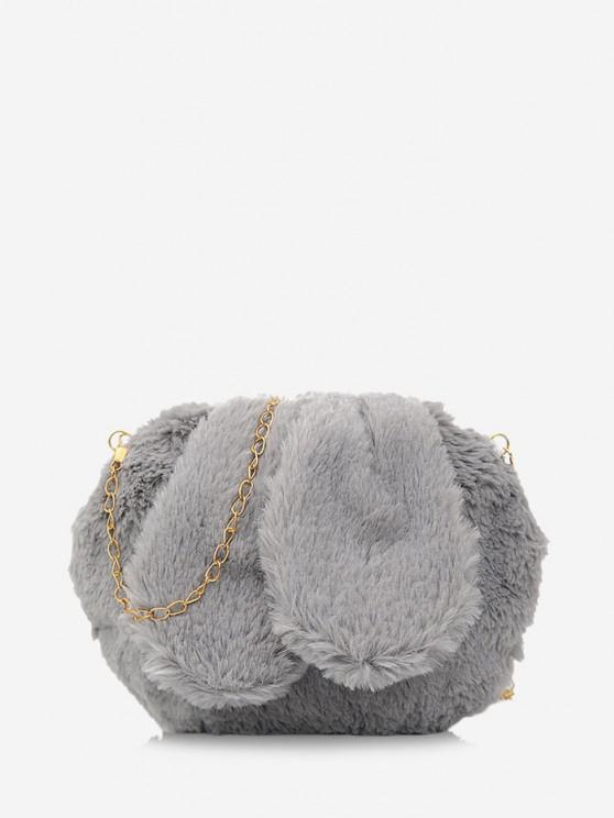 ladies Rabbit Ear Design Fluffy Chain Crossbody Ba - GRAY GOOSE