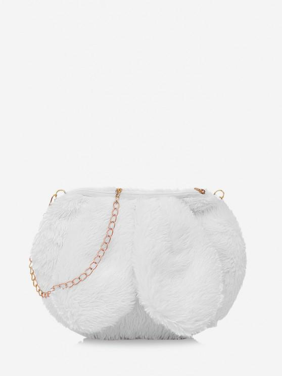 lady Rabbit Ear Design Fluffy Chain Crossbody Ba - MILK WHITE