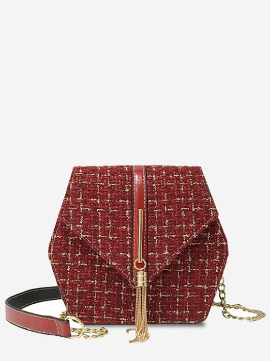 hot Tweed Metallic Fringe Plaid Pattern Chain Flap Crossbody Bag - RED WINE
