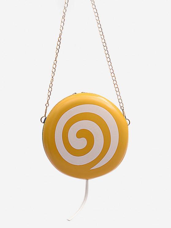 shop Lollipop Shape Chain Mini Round Crossbody Bag - SUN YELLOW