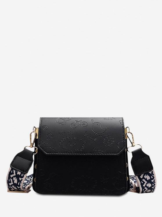 chic Cartoon Embossed Wide Strap Crossbody Bag - BLACK