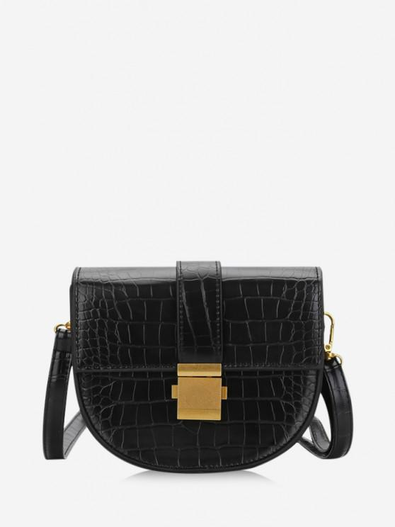 sale Textured Crossbody Saddle Bag - BLACK