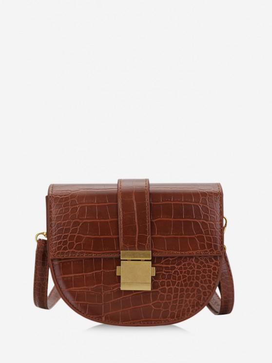 affordable Textured Crossbody Saddle Bag - LIGHT BROWN