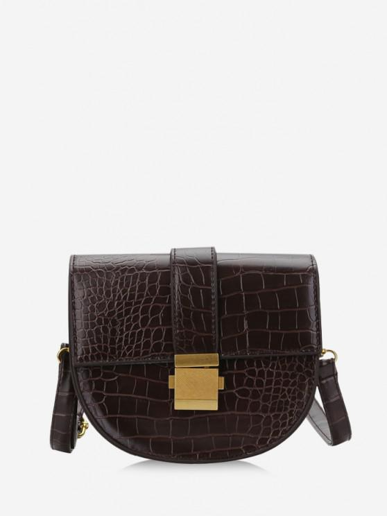 buy Textured Crossbody Saddle Bag - DEEP BROWN
