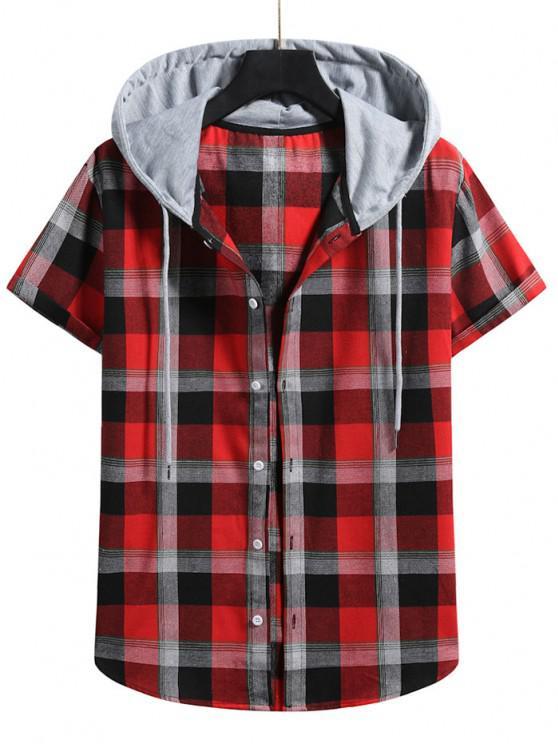 Contrast Hood Plaid Print Short Sleeve Shirt - الحمم الحمراء M