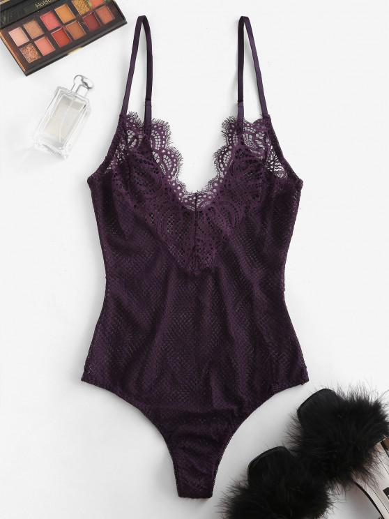 trendy Lace Sheer Cami Lingerie Teddy - CONCORD M
