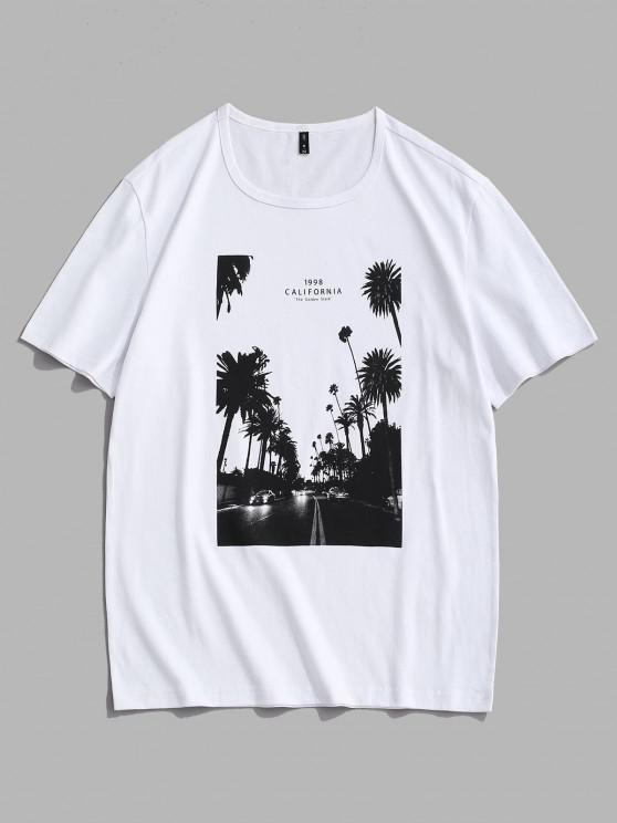 fancy California Palm Tree Graphic T-shirt - WHITE M