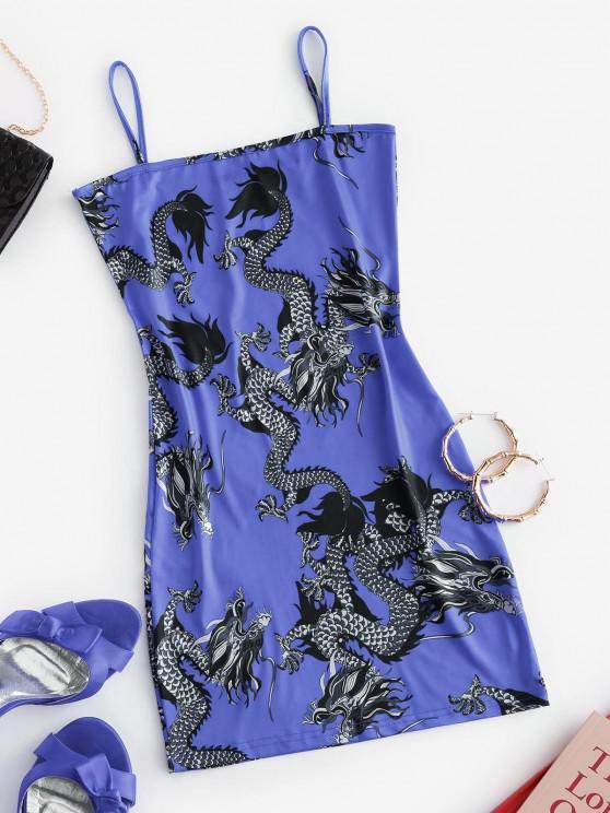 Mini Vestido de Tirantes Finos con Estampado de Dragón - Azul S
