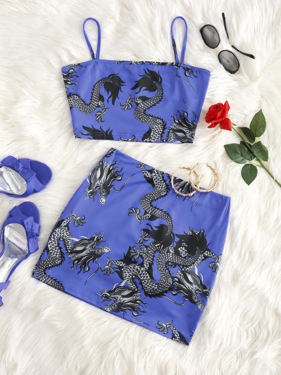 online Dragon Print Oriental Mini Skirt Set - BLUE L
