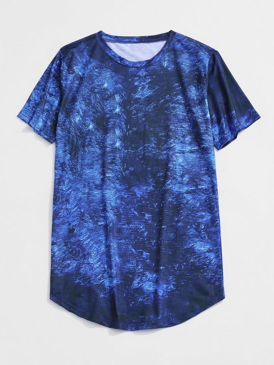 Short Sleeve Printed Curved Hem T-shirt - أزرق L