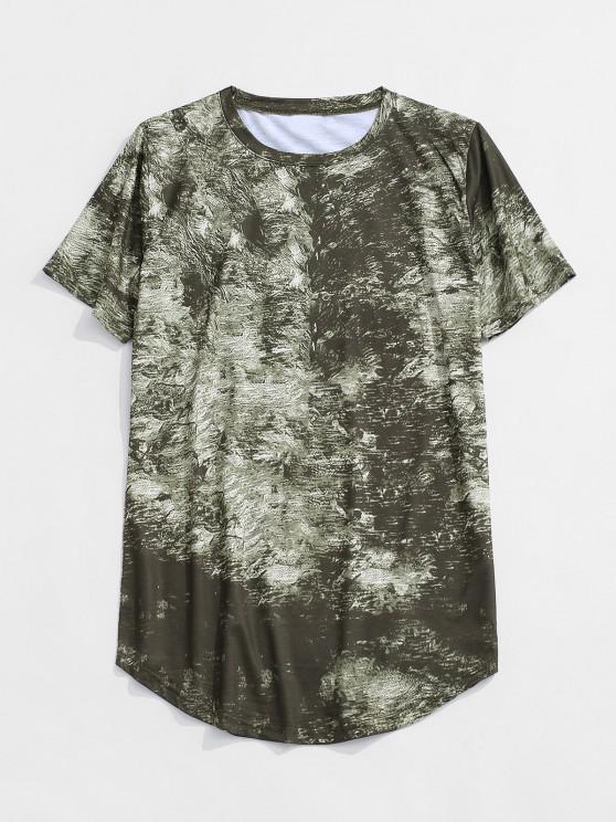 Short Sleeve Printed Curved Hem T-shirt - أخضر XS