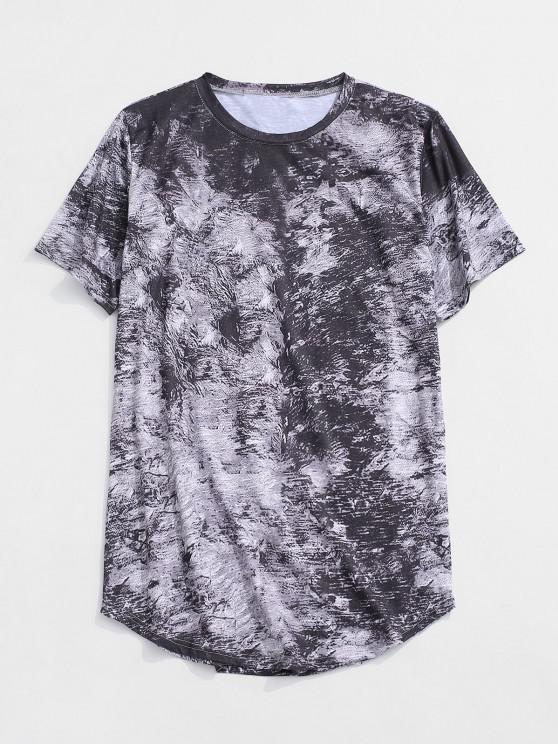 shop Short Sleeve Printed Curved Hem T-shirt - GRAY XS