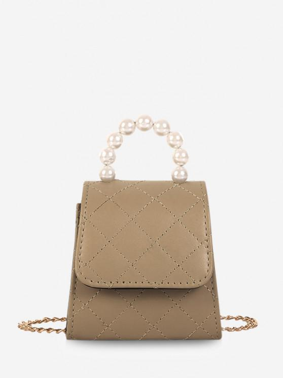 Faux Pearl Quilted Flap Chain Mini Crossbody Bag - ضوء الكاكي