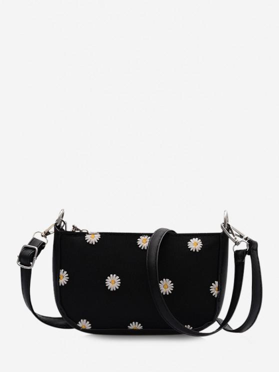 shop Daisy Flower Pattern Shoulder Bag - BLACK