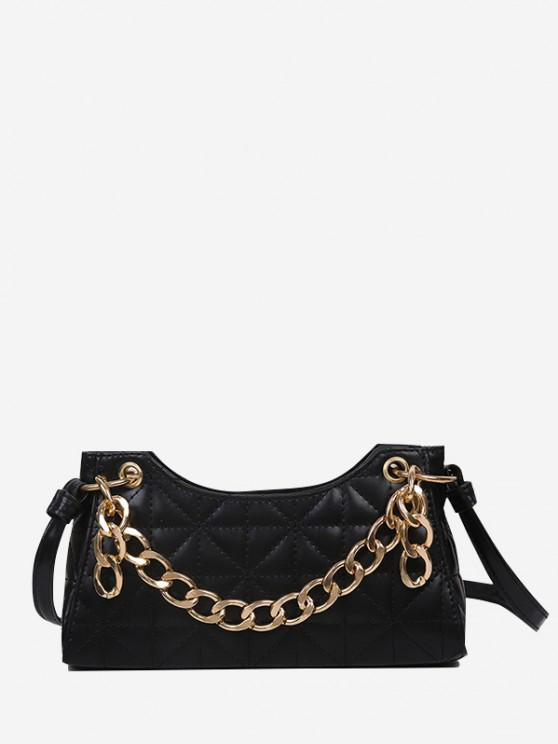 trendy Chain Quilted Shoulder Bag - BLACK