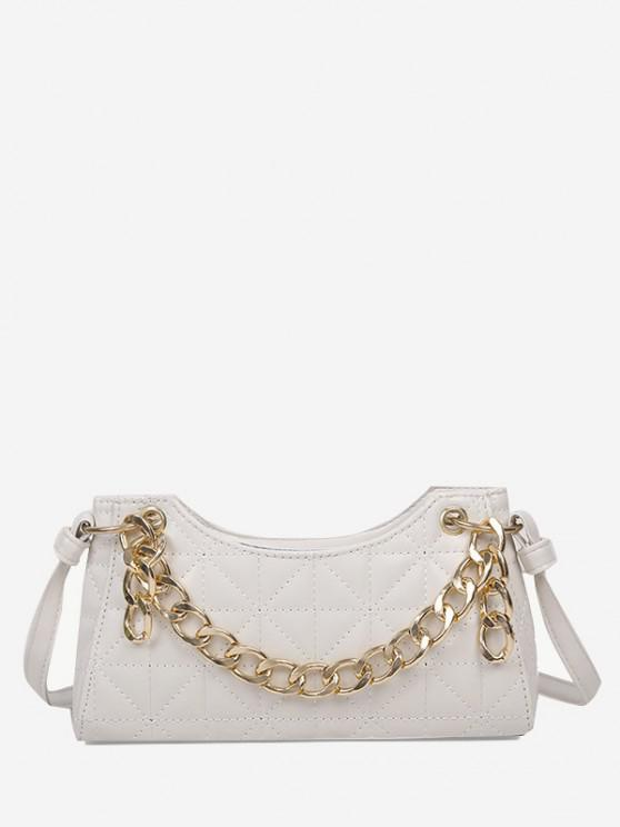 fashion Chain Quilted Shoulder Bag - WHITE
