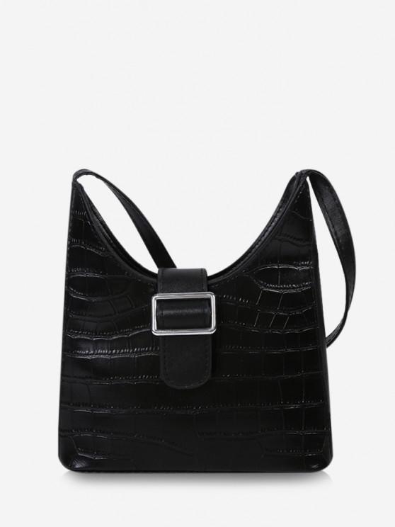 sale Buckle Embellished Shoulder Bag - BLACK