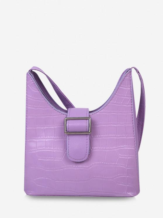 women Buckle Embellished Shoulder Bag - PURPLE