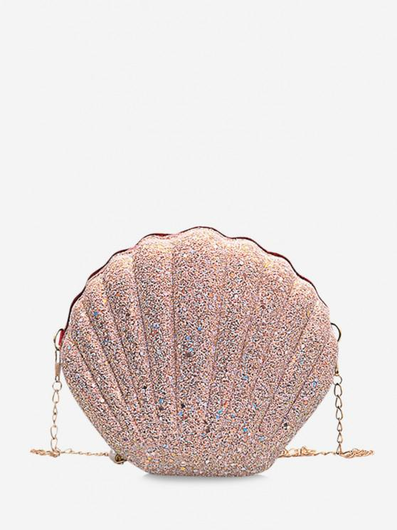shops Shell Shape Glitter Chain Crossbody Bag - PIG PINK