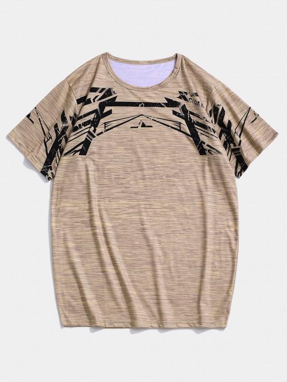 T-shirt de Sport Géométrique Chiné à Manches Courtes - Kaki XS