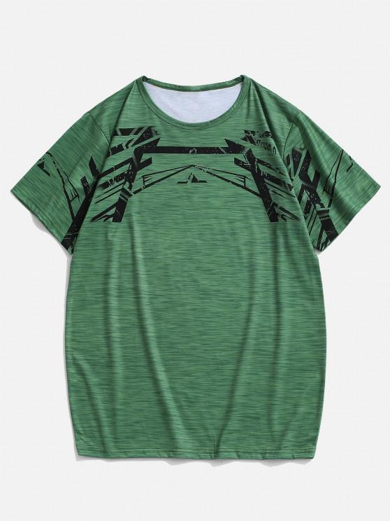 buy Heathered Geo Short Sleeve Sport T-shirt - GREEN L