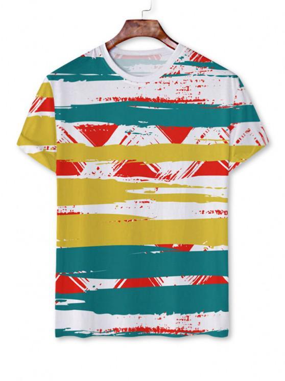 best Painting Stripe Short Sleeve T-shirt - WHITE 3XL