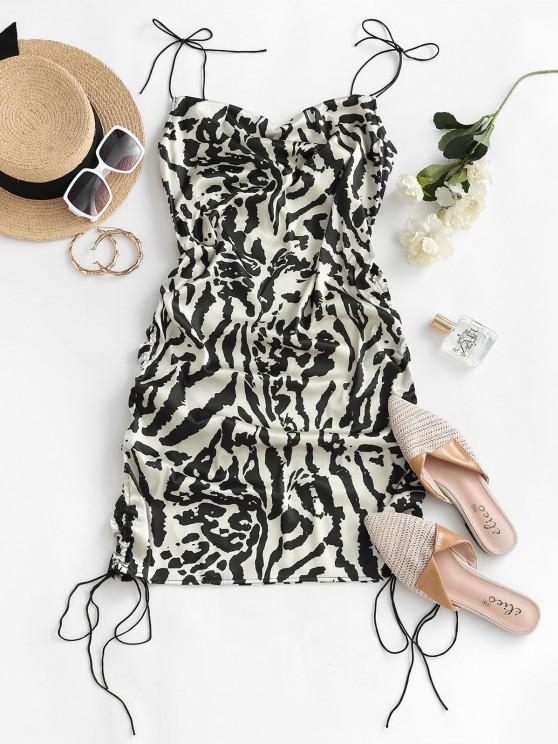affordable Leopard Cinched Tie Shoulder Satin Cami Dress - MULTI L