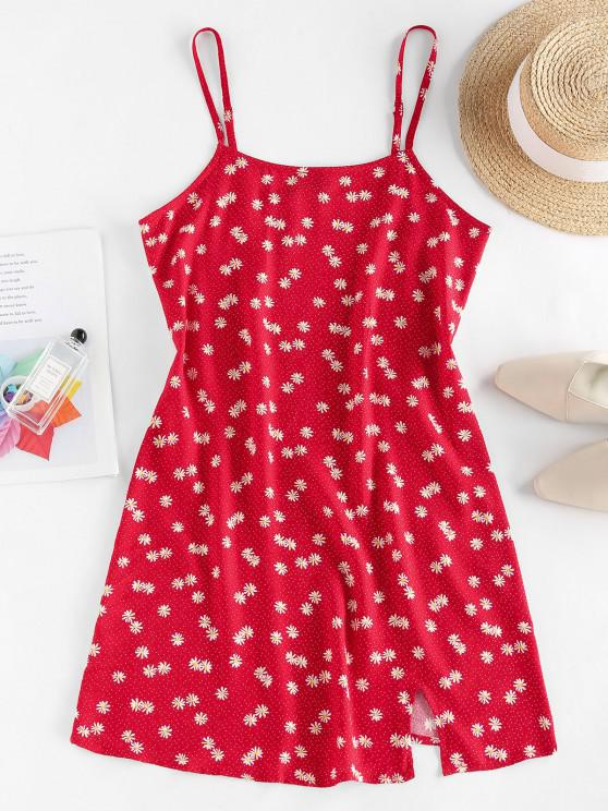 ZAFUL Mini Vestido Cami com Fenda - Vermelho M