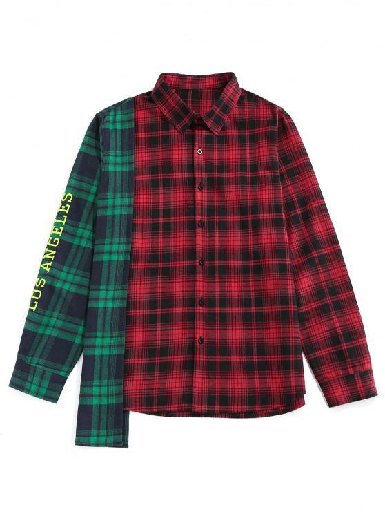 outfit ZAFUL LOS ANGELES Colorblock Plaid Asymmetric Shirt - MULTI S