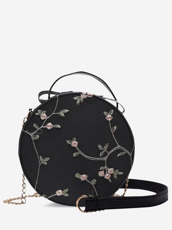 Stickerei Blumen Spitze Kantine Tasche mit Schnürung - Schwarz