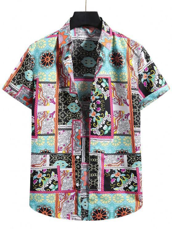 Floral Patchwork Print Short Sleeve Shirt - متعددة-A XL