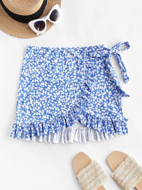 ZAFUL Leaf Print Bowknot Ruffle Tulip Hem Beach Skirt - أزرق L