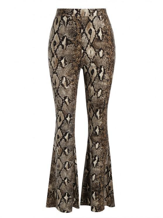 shop Snakeskin High Waisted Flared Pants - DEEP COFFEE L