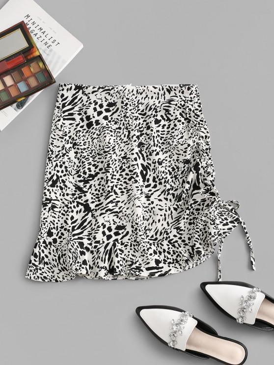 latest Leopard Cinched Tie Flounce Skirt - WHITE M