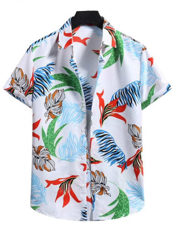 outfit Short Sleeve Tropical Leaf Shirt - MILK WHITE M