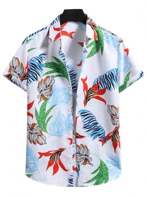 Short Sleeve Tropical Leaf Shirt - حليب ابيض S