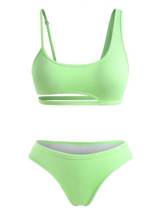 ZAFUL Plus Size Cutout Ribbed Bikini Swimwear - أخضر XXXL