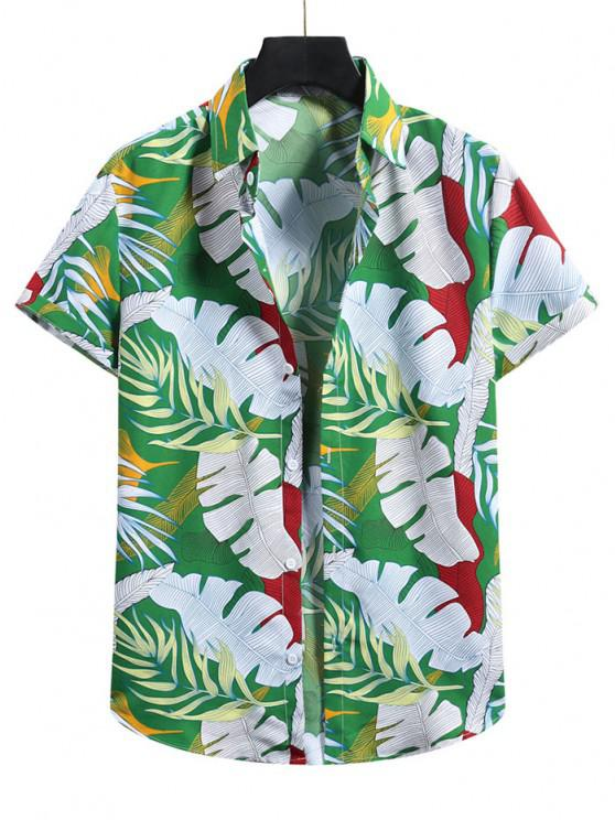 outfit Tropical Leaf Vacation Shirt - SHAMROCK GREEN XL