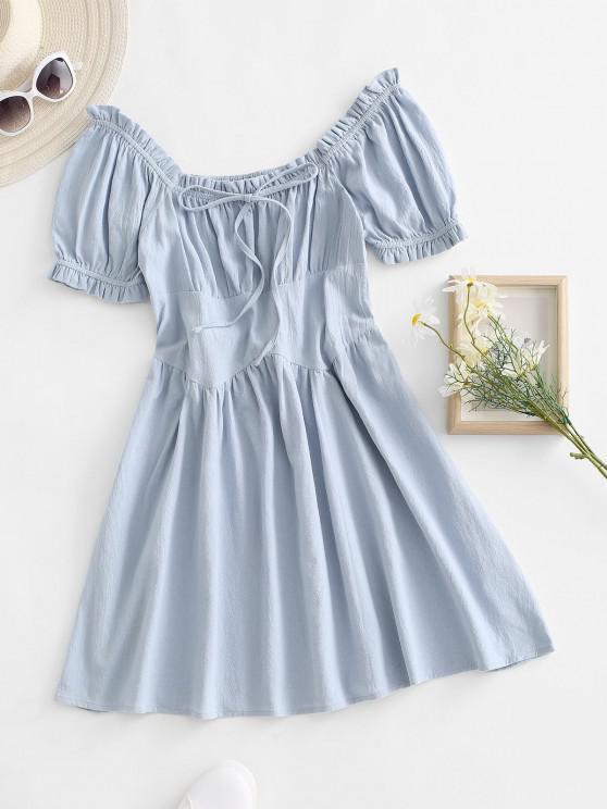 hot Smocked Back Ruffle Bowknot Puff Sleeve Dress - LIGHT BLUE M