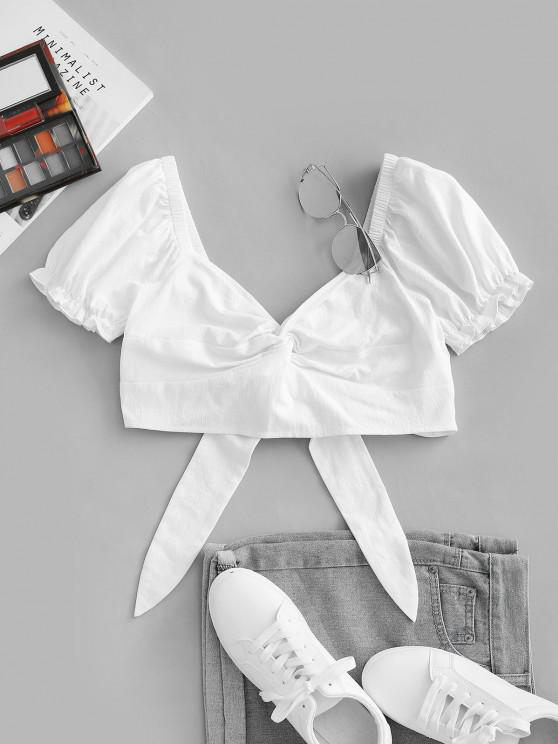 online ZAFUL Front Twist Off The Shoulder Back Tie Cropped Blouse - WHITE S