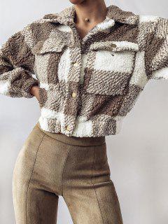 ZAFUL Plaid Drop Shoulder Pocket Teddy Coat - Khaki L