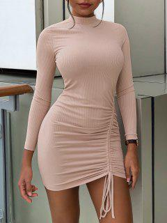 ZAFUL Cinched Ribbed Bodycon Tee Dress - Light Pink S