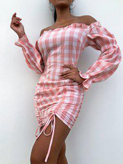 ZAFUL Off Shoulder Cinched Plaid Mini Dress - Pink S