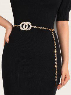 Shiny Round Shape Rhinestone Inlaid Waist Chain - Golden