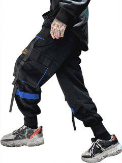 Drawstring Applique Detail Contrast Cargo Pants - Blue M