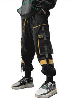 Drawstring Applique Detail Contrast Cargo Pants - Yellow S